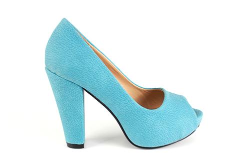 Peep toes en simil Nobuck Azul