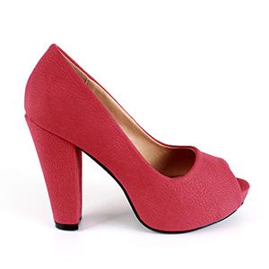 Peep toes en simil Nobuck Rojo y tacon Ancho
