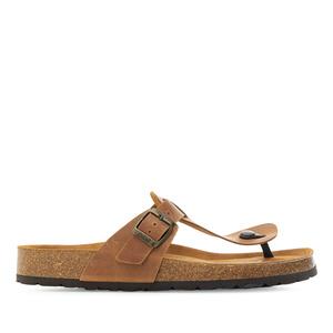 Zehensteg-Sandalen aus braunem Naturleder - Made in Spain