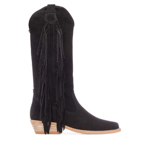 Ladies High Boots in Black Suede