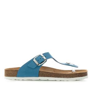 Zehensteg-Sandalen aus blauem Nubuckleder - Made in Spain