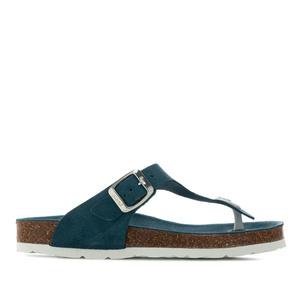 Zehensteg-Sandalen aus marineblauem Rauleder - Made in Spain