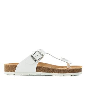 Zehensteg-Sandalen aus weißem Leder - Made in Spain