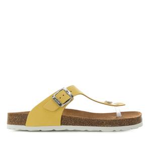 Sandalias esclavas en Piel Nobuck de color Amarillo pastel