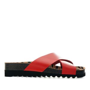 Ergonomische Kreuzsandalen aus rotem Leder - Made in Spain