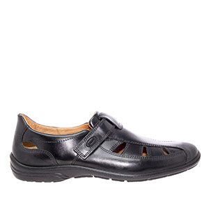 Mens Brown Leather Shoes with velcro closure