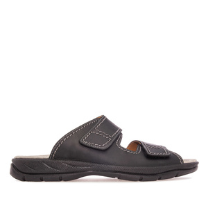 Mens Black Leather 2 Strap Sandals