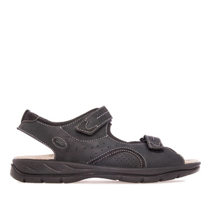 Mens Sandals in Black Leather