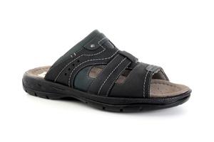 Sandalias de caballero en piel color Negro y Jeans.