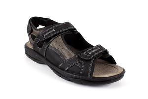 Sandalias de Caballero de Piel Marron con Velcro.