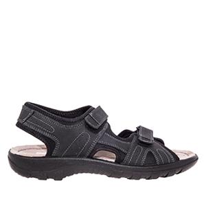 Kožne sandale sa čičak trakom, crne