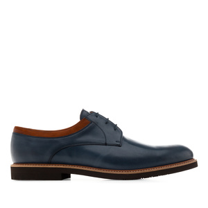 Men's Bluchers in Blue Leather