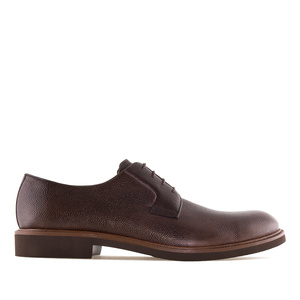 Men's Brown Grained Leather Lace-Up Shoes