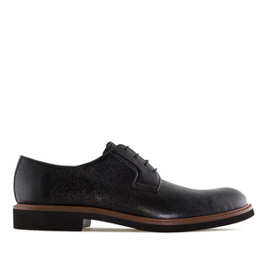 Men's Black Grained Leather Lace-Up Shoes