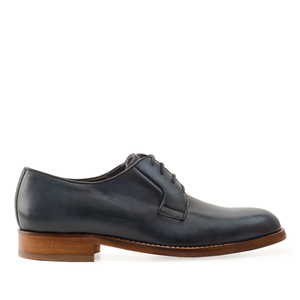 Men's Lace-Up Shoes in Blue Leather
