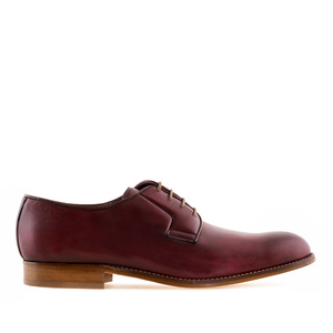 Men's Lace-Up Shoes in Burgundy Leather