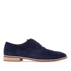 Oxford Shoes in Navy Split Leather