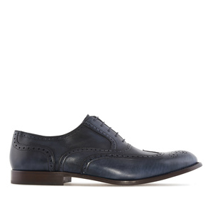 Men's Oxford Shoes in Blue Leather