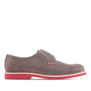 Chaussures pour Hommes Style Oxford en Cuir Suéde Gris à Lacets Rouge