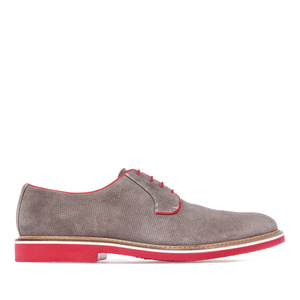 Men's Oxford Shoes in Grey Split Leather with red shoelaces