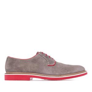 Pánské semišové vzorkované polobotky, barva šedá v kombinaci s červenou.