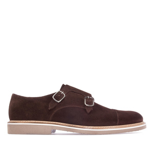 Men's Oxford Shoes in Brown Split Leather with toned double buckle closure