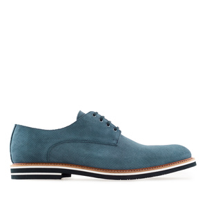 Men's Oxford Shoes in Blue Split Leather