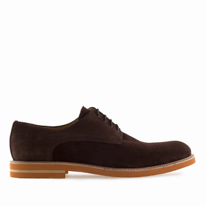 Men's Oxford Shoes in Brown Split Leather
