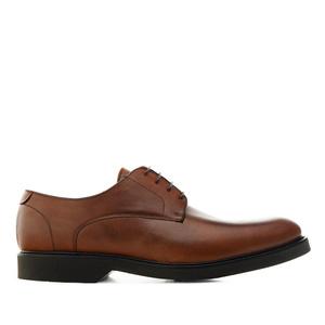 Chaussures style Oxford en cuir de  couleur Acajou