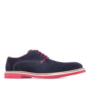 Buty w Stylu Oxford z Zamszu Ciemno Niebieskie