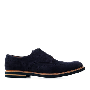 Oxford Shoes in Navy genuine Split Leather