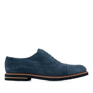 Oxfordschuhe aus blauem Rauleder - MADE IN SPAIN