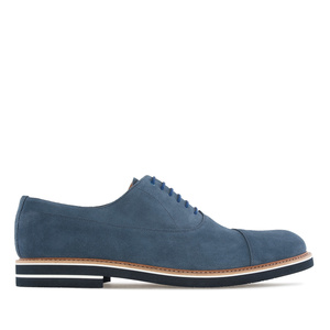 Oxford Shoes in Denim Blue Split Leather