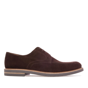 Blucher type shoes in Chocolate-Brown Split Leather