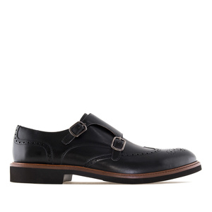 Monk Shoes in Black Leather