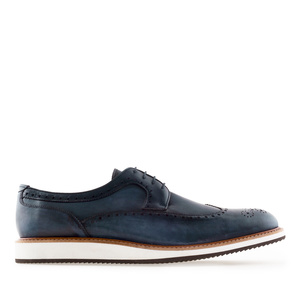 Men's Oxford Shoes in Navy Leather
