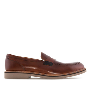 Men's Moccasins in Mahogany coloured Leather