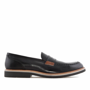 Men's Moccasins in Black Leather