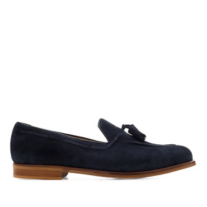 Men's Tassle Moccasins in Navy Split Leather