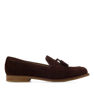 Men's Tassle Moccasins in Brown Split Leather