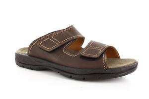 Sandalias caballero piel color marrón, con Velcro