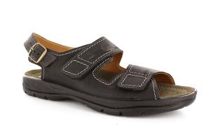 Sandalias de caballero de piel negra con tira trasera