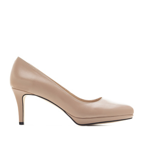 Platform Stilettos in Beige Nappa Leather
