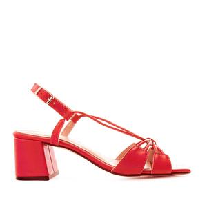 Sandalias en piel con tiras de color Rojo Anaranjado