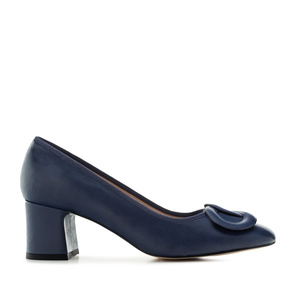 2-Ring Block Stilettos in Navy Leather