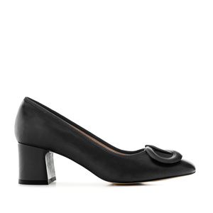 2-Ring Block Stilettos in Black Leather