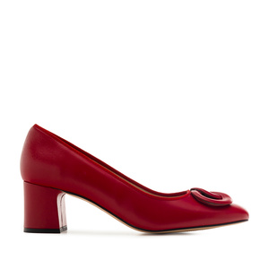 2-Ring Block Stilettos in Red Leather