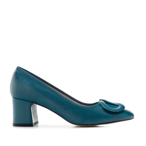 2-Ring Block Stilettos in Blue Leather