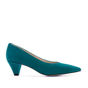 Fine Tip Blue Suede Court Shoes
