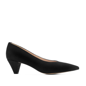 Fine Tip Black Suede Court Shoes